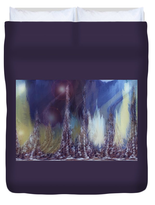 Abstract Duvet Cover featuring the digital art Pixel Dream by Linda Sannuti