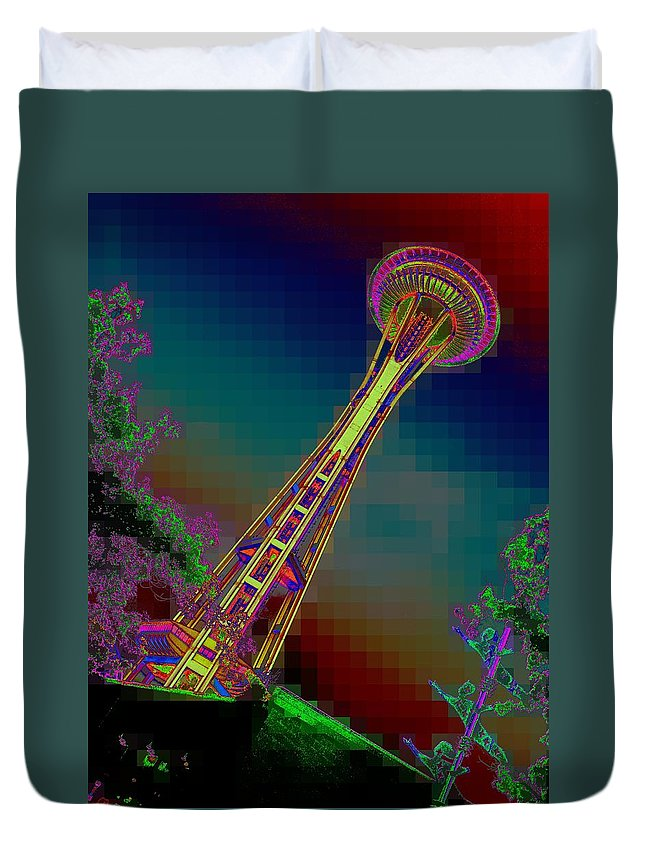 Seattle Duvet Cover featuring the photograph Pixel Needle by Tim Allen