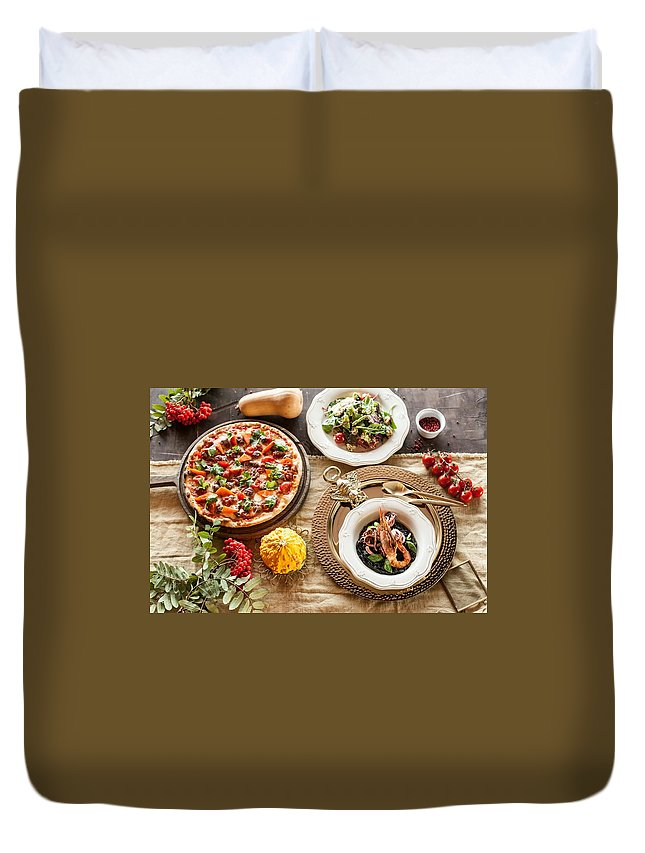 Pizza Duvet Cover featuring the digital art Pizza by Dorothy Binder