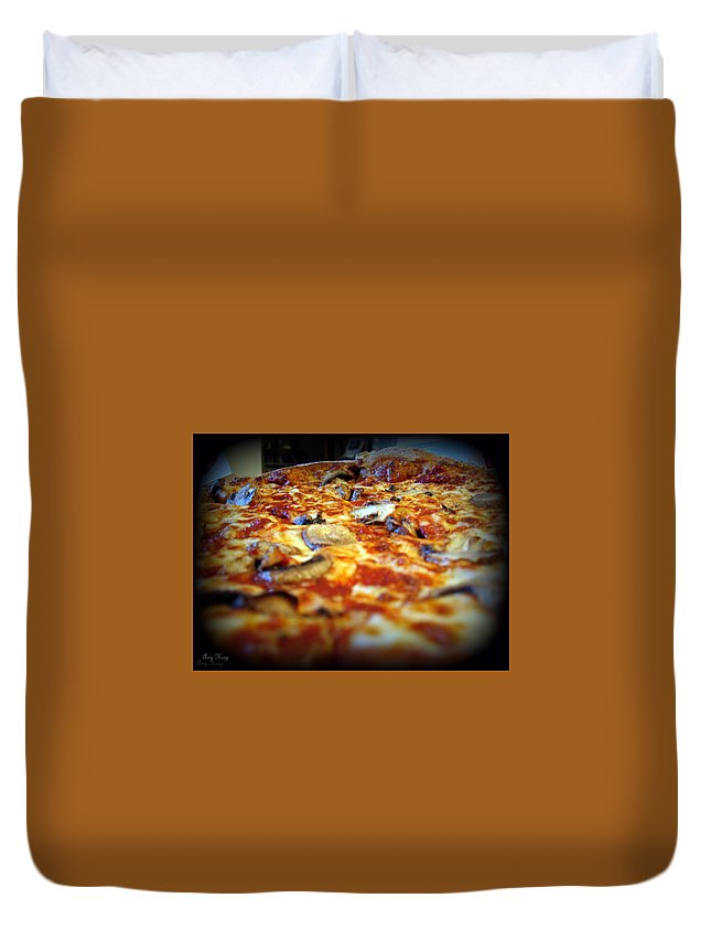 Pizza Duvet Cover featuring the photograph Pizza Pie For The Eye by Amy Hosp