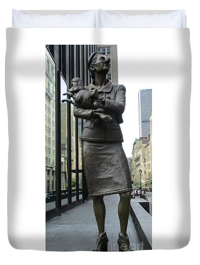 Montreal Duvet Cover featuring the photograph Place D'armes Sculpture 1 by Randall Weidner