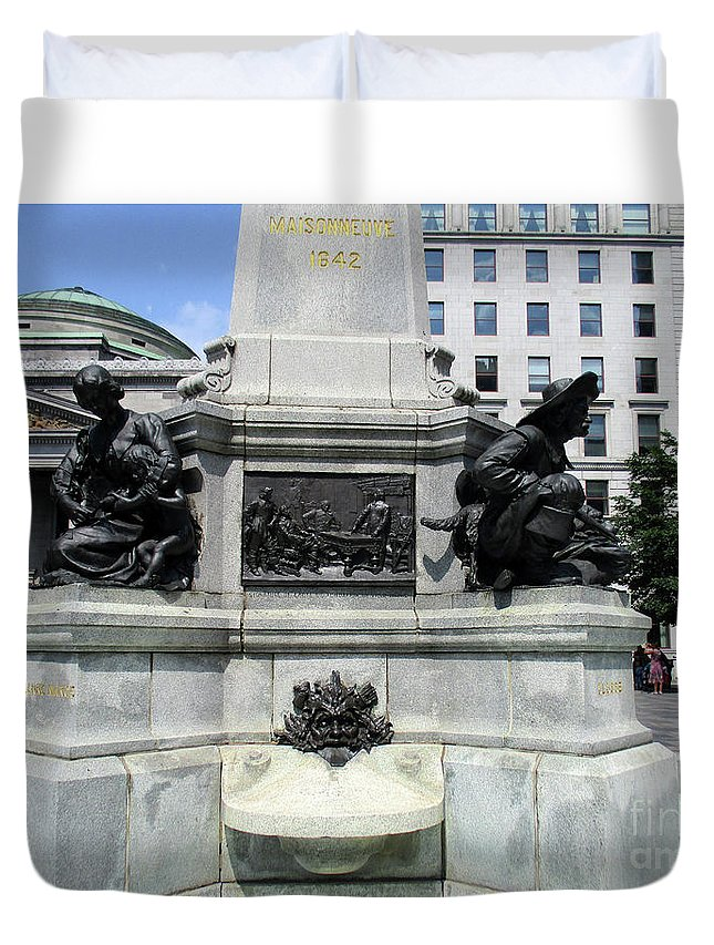 Montreal Duvet Cover featuring the photograph Place D'armes Sculpture 5 by Randall Weidner