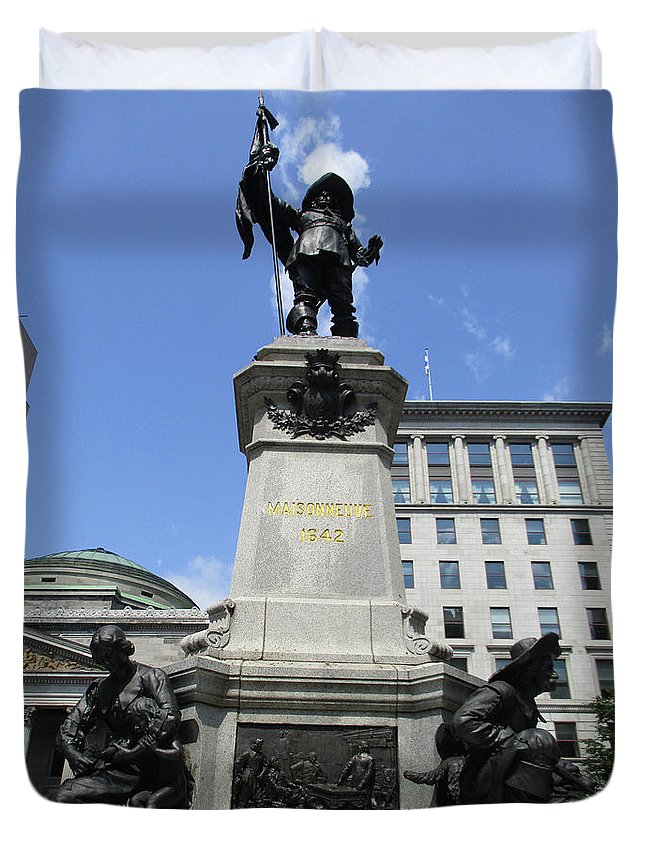 Montreal Duvet Cover featuring the photograph Place D'armes Sculpture 6 by Randall Weidner