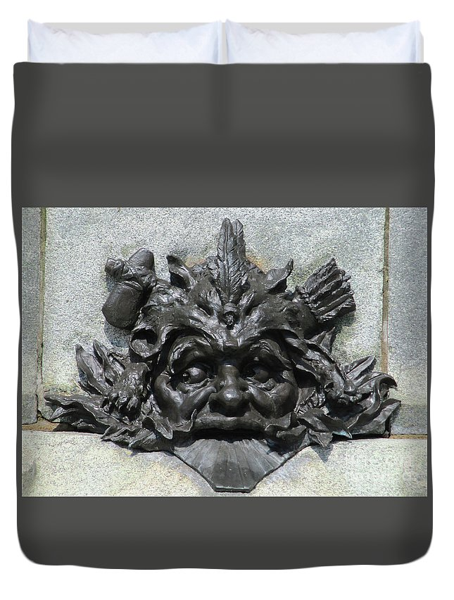 Montreal Duvet Cover featuring the photograph Place D'armes Sculpture 7 by Randall Weidner