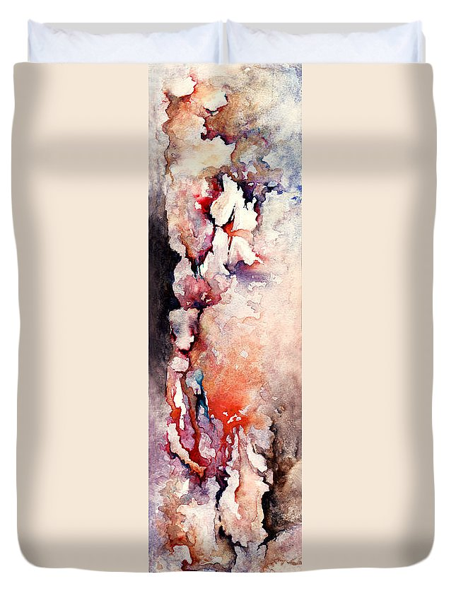 Abstract Duvet Cover featuring the painting Places In The Heart by Rachel Christine Nowicki