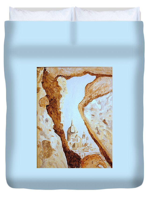 Gozo Duvet Cover featuring the painting Places Of Worship by Shirley Wilberforce