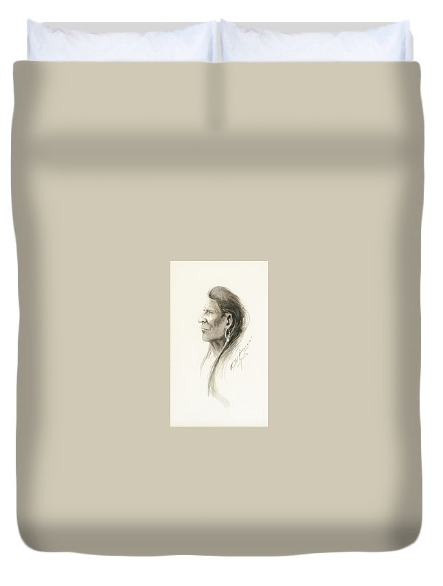 Traditional Duvet Cover featuring the painting Plains Warrior by Celestial Images