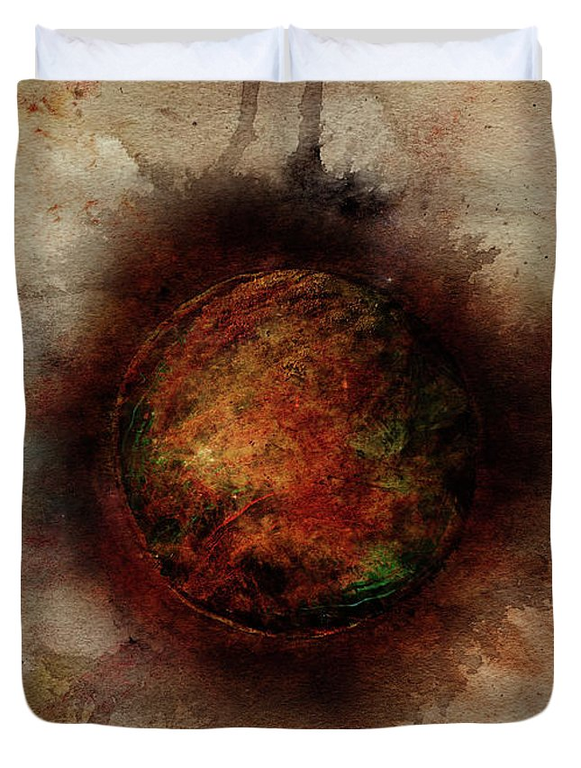 Planet Duvet Cover featuring the painting Planetary Breakthrough by Christina VanGinkel