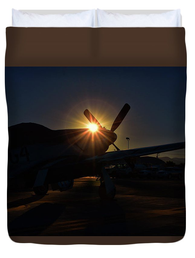 North American P-51d Mustang Duvet Cover featuring the photograph Planes Of Fame Mustang Morning by Tommy Anderson