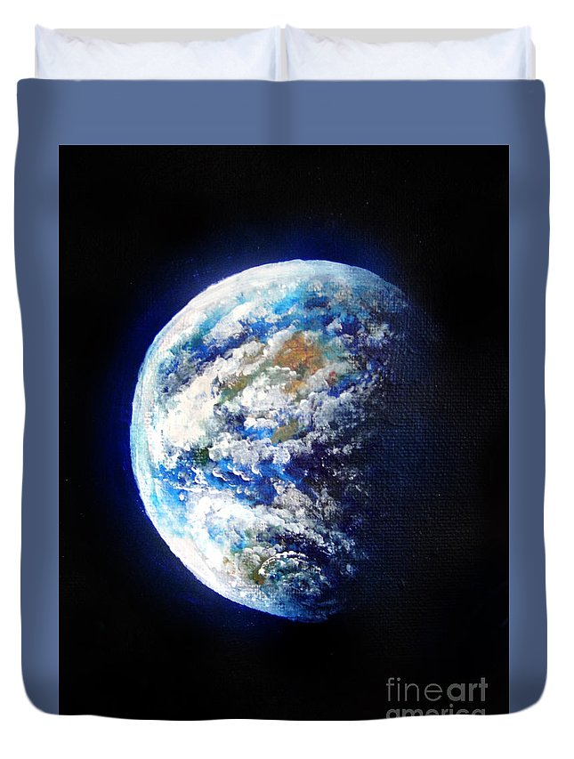 Earth Duvet Cover featuring the painting Planet Earth. Space Art by Sofia Metal Queen