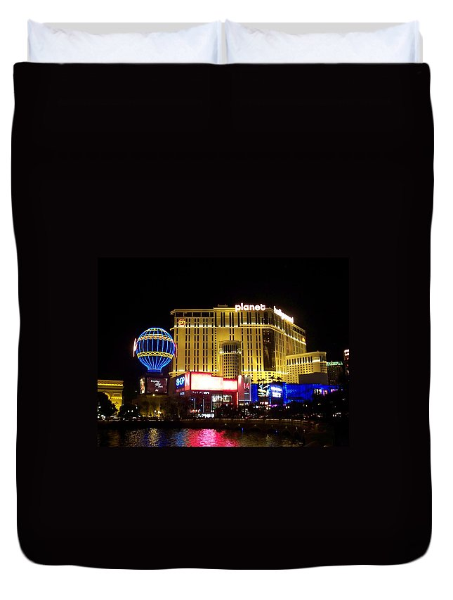 Vegas Duvet Cover featuring the photograph Planet Hollywood By Night by Anita Burgermeister