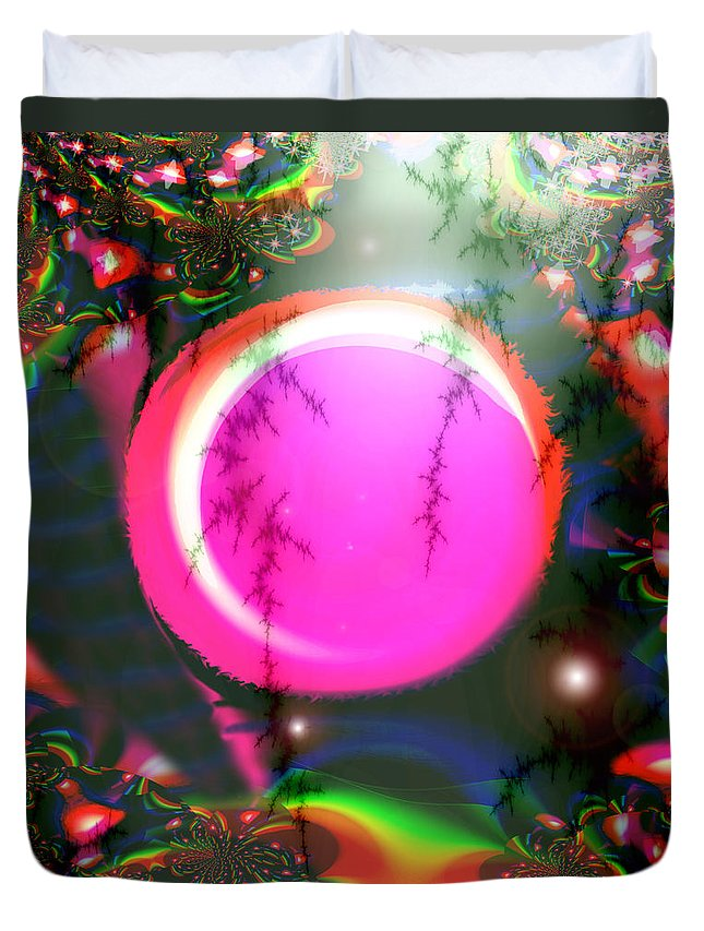 Planets Solar System Rainbow Stars Space Abstract Moon Orb Pink Colorful Duvet Cover featuring the digital art Planet Rainbow by Andrea Lawrence