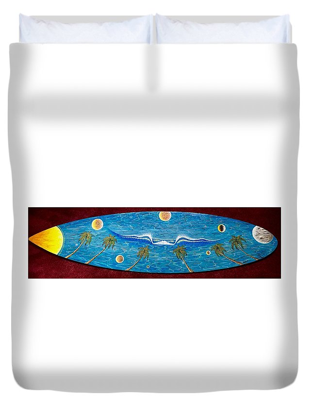 Planet Surf Duvet Cover featuring the painting Planet Surf by Paul Carter