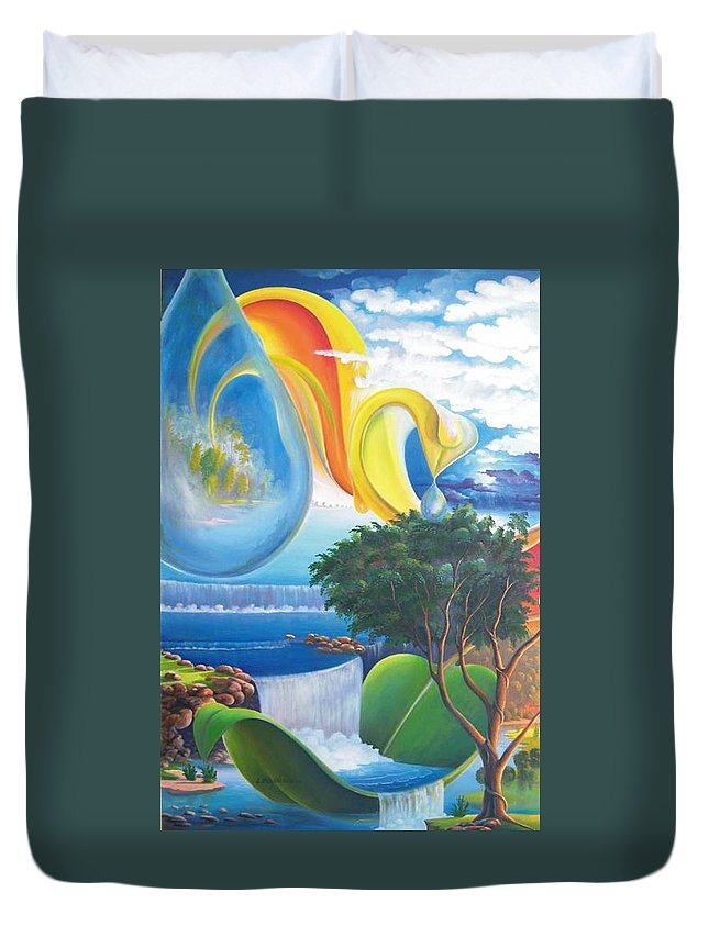 Surrealism - Landscape Duvet Cover featuring the painting Planet Water - Leomariano by Leomariano artist BRASIL