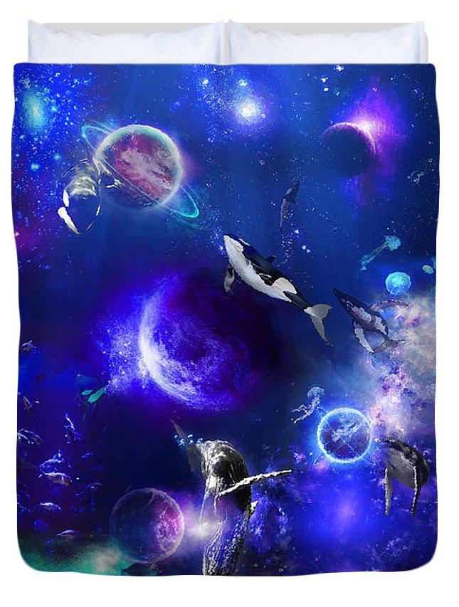 Ocean Duvet Cover featuring the digital art Planetary Sea by Hector Cabrera