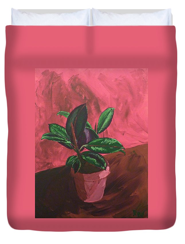 Plant Duvet Cover featuring the painting Plant In Ceramic Pot by Joshua Redman