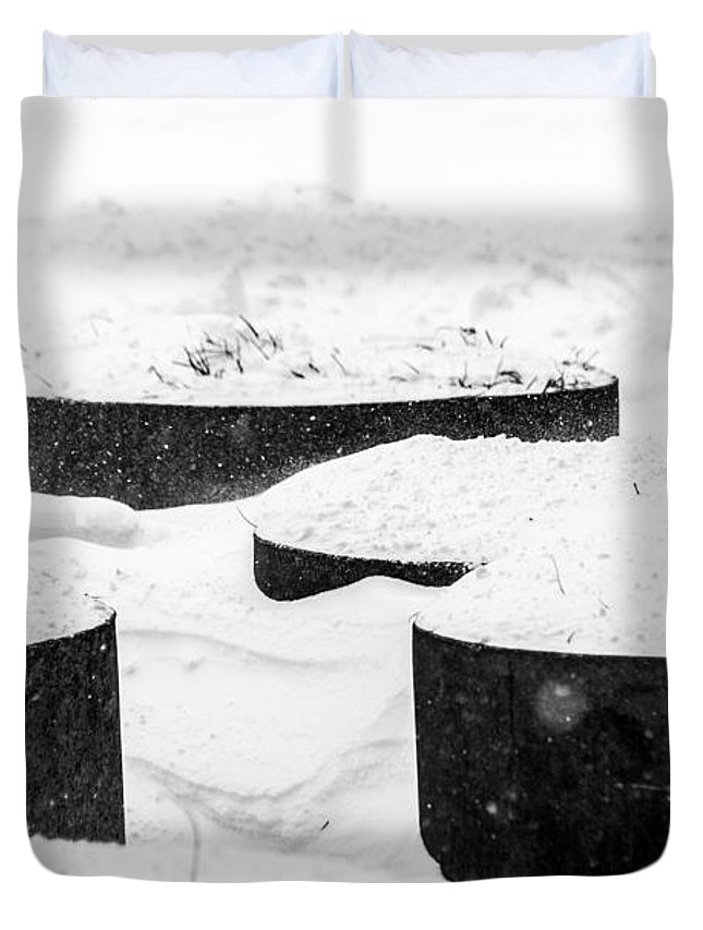 Weather Duvet Cover featuring the photograph Planters And Snow by SR Green