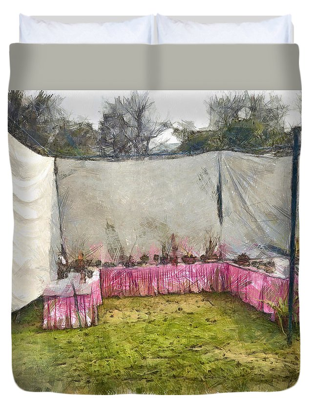 Exhibition Duvet Cover featuring the photograph Plants At An Exhibition by Ashish Agarwal