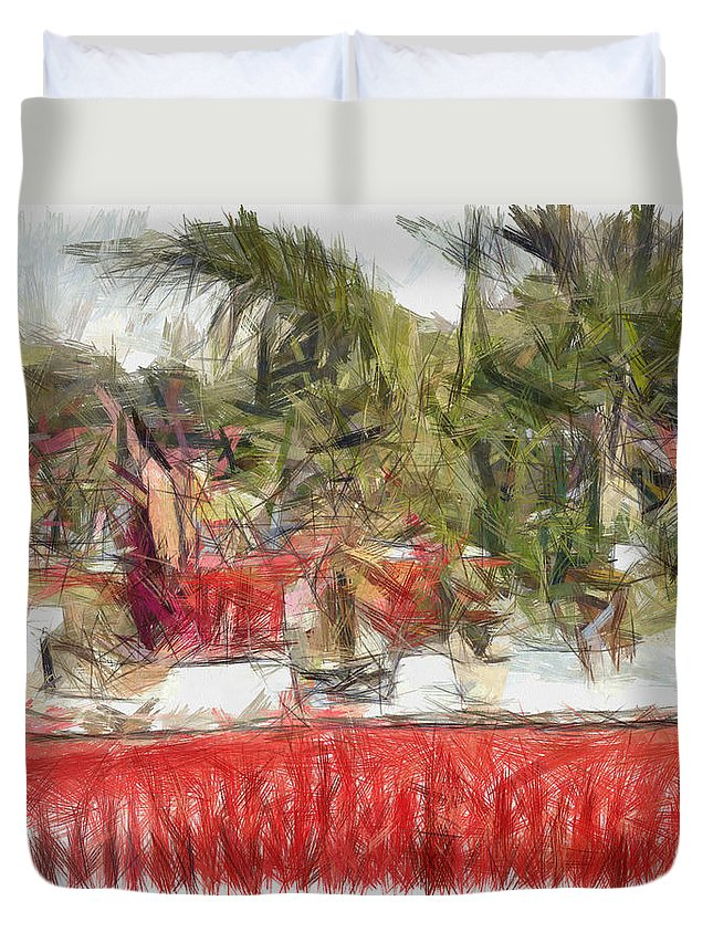 Exhibition Duvet Cover featuring the photograph Plants On Stalls At An Exhibition by Ashish Agarwal