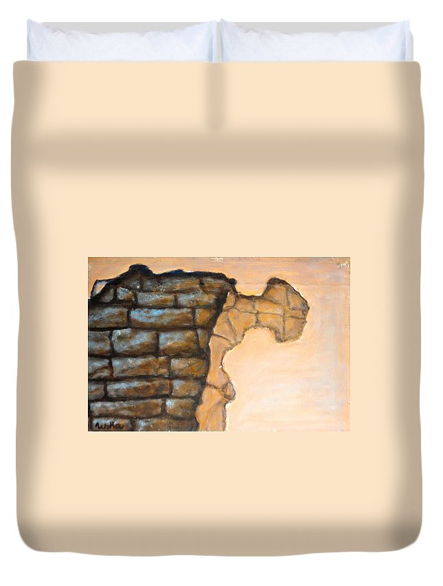 Plaster Duvet Cover featuring the painting Plaster It by Usha Shantharam