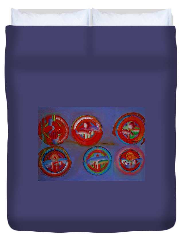 Logo Duvet Cover featuring the painting Plate State by Charles Stuart