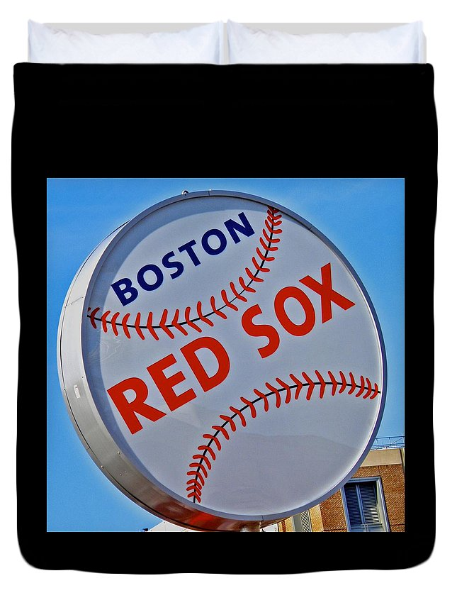 Red Sox Duvet Cover featuring the photograph Play Ball by Donna Shahan
