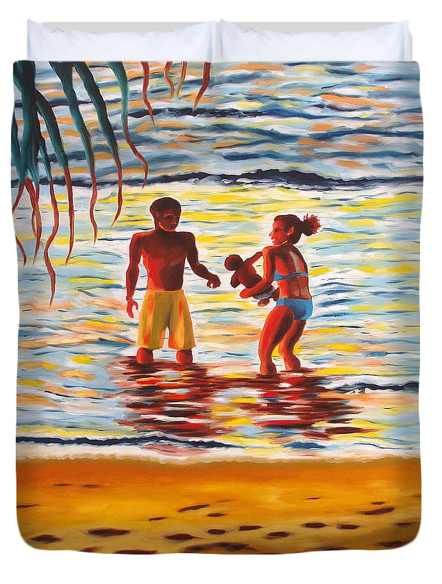 Ocean Duvet Cover featuring the painting Play Day At Jobos Beach by Milagros Palmieri