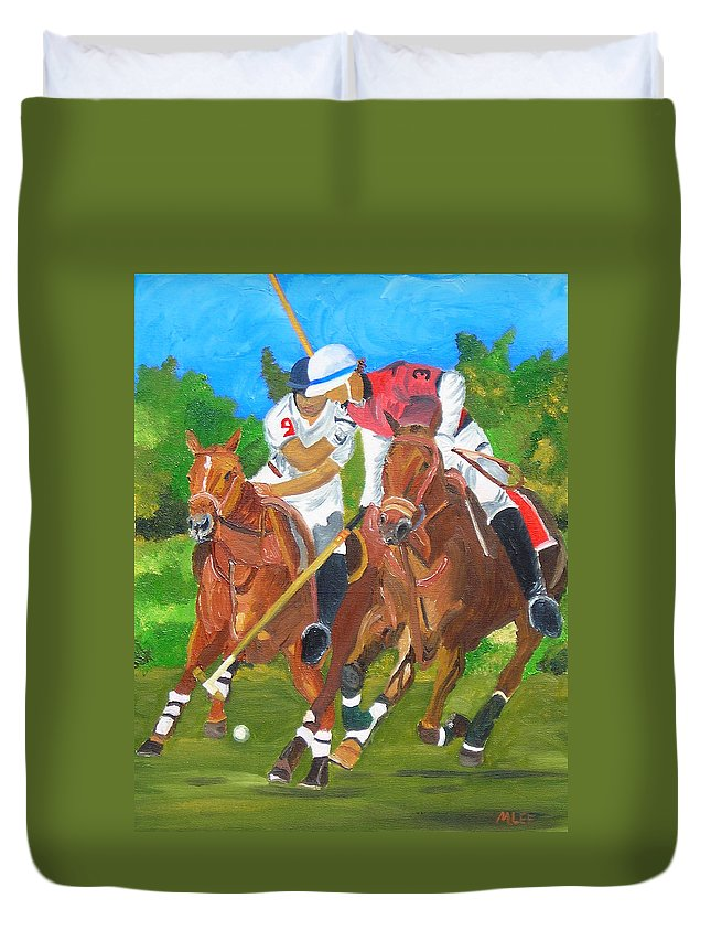 Polo Duvet Cover featuring the painting Play In Motion by Michael Lee