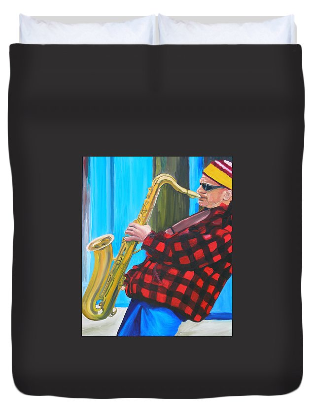 Sax Player Duvet Cover featuring the painting Play It Mr Sax Man by Michael Lee