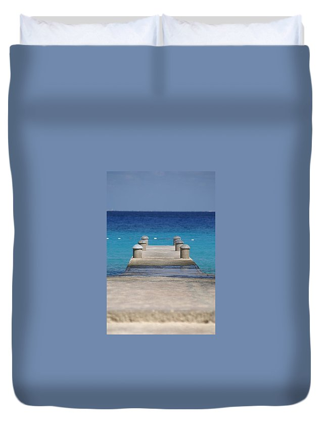 Mexico Duvet Cover featuring the photograph Playa Azul Dock by Robert Hunter