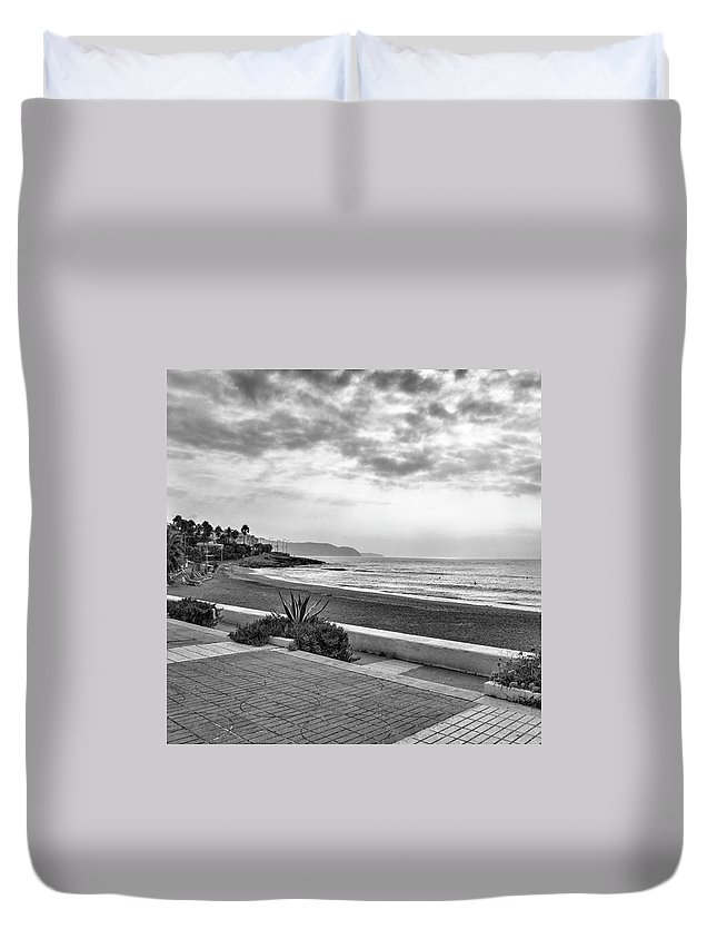 Monochromephotography Duvet Cover featuring the photograph Playa Burriana, Nerja by John Edwards