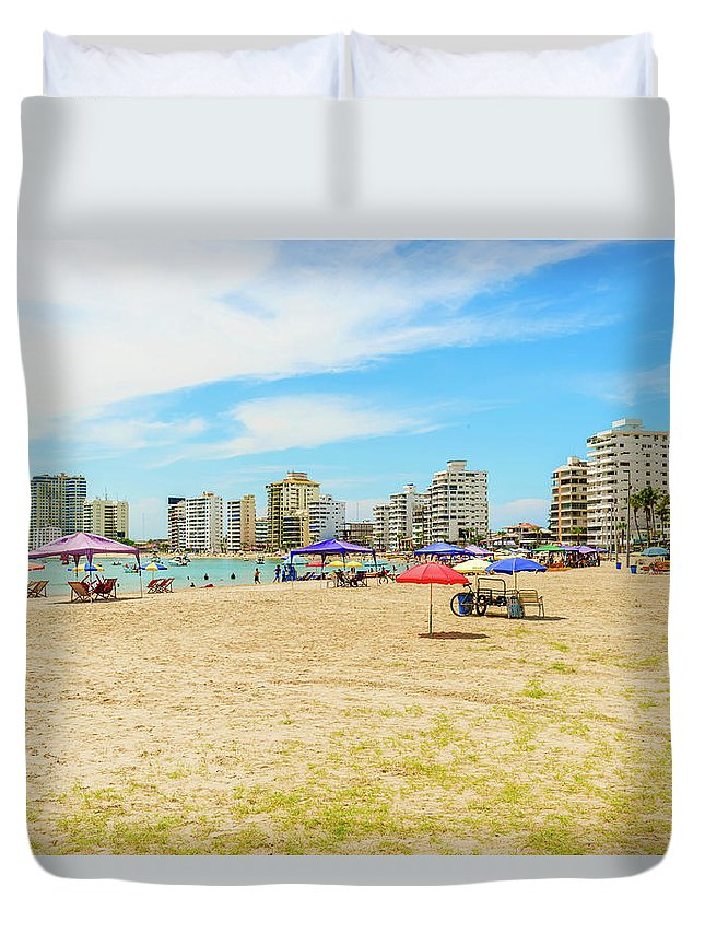 Salinas Duvet Cover featuring the photograph Playa De San Lorenzo In Salinas, Ecuador by Marek Poplawski