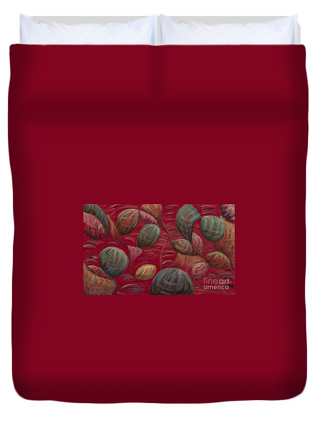 Red Duvet Cover featuring the painting Playful in Red by Nadine Rippelmeyer