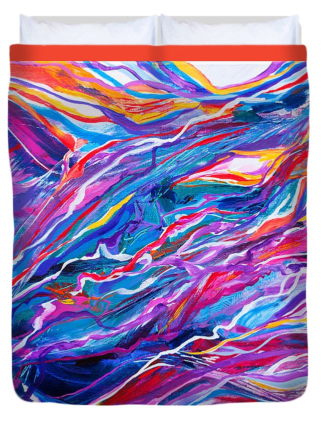 Filaments Lines Strokes Rushing Water Full Of Vibrant Color And Dynamic Movement Energy Contemporary Original Abstract Duvet Cover featuring the painting Playful stream by Priscilla Batzell Expressionist Art Studio Gallery
