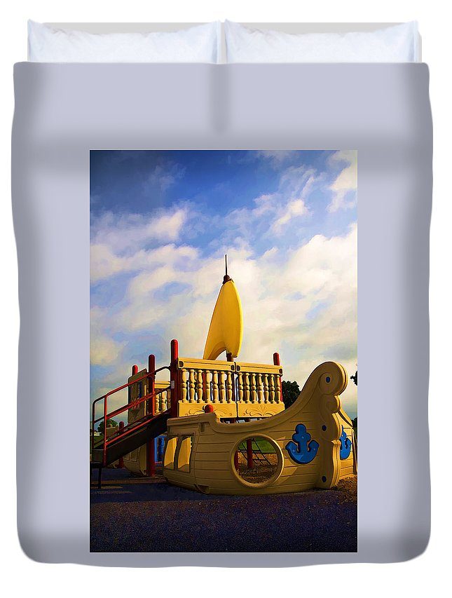 Child Duvet Cover featuring the photograph Playground II by Ricky Barnard