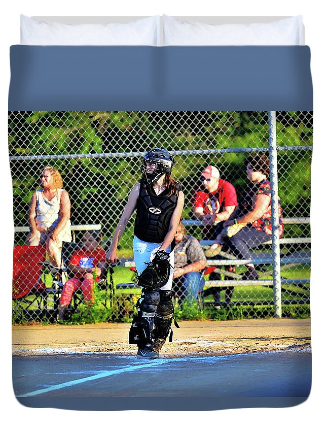 Duvet Cover featuring the photograph Playing Catch by Winston Hudson