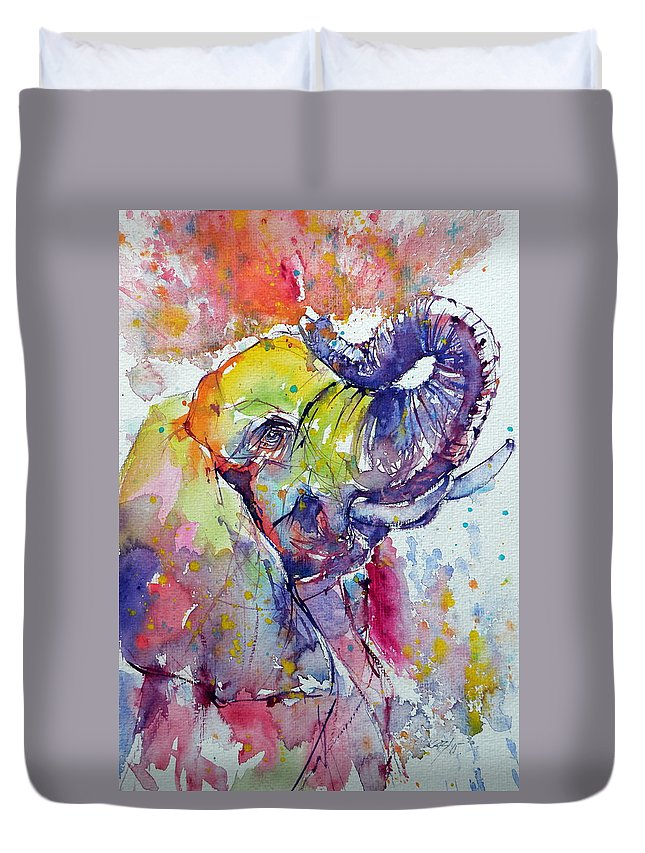 Elephant Duvet Cover featuring the painting Playing Elephant by Kovacs Anna Brigitta