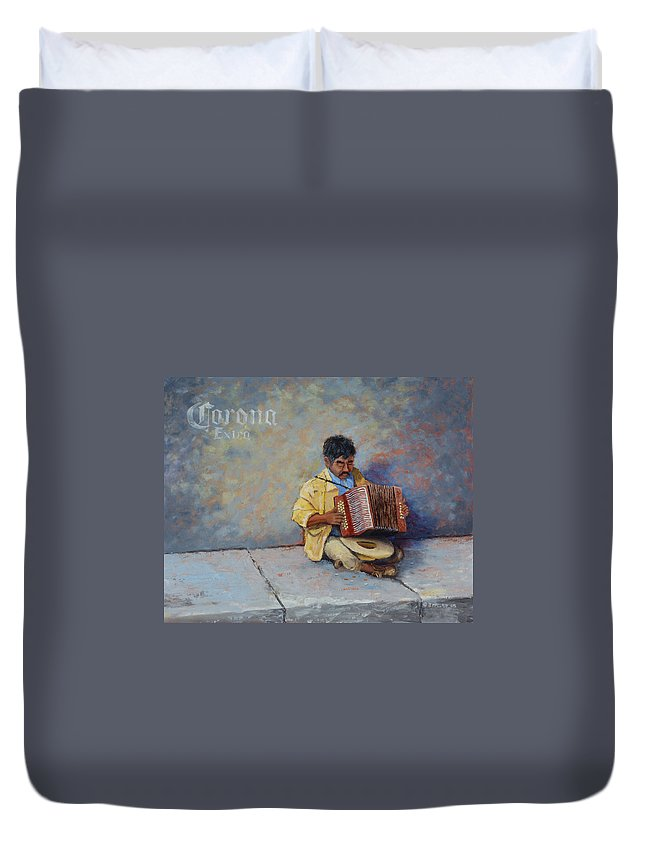 Mexico Duvet Cover featuring the painting Playing For Pesos by Jerry McElroy