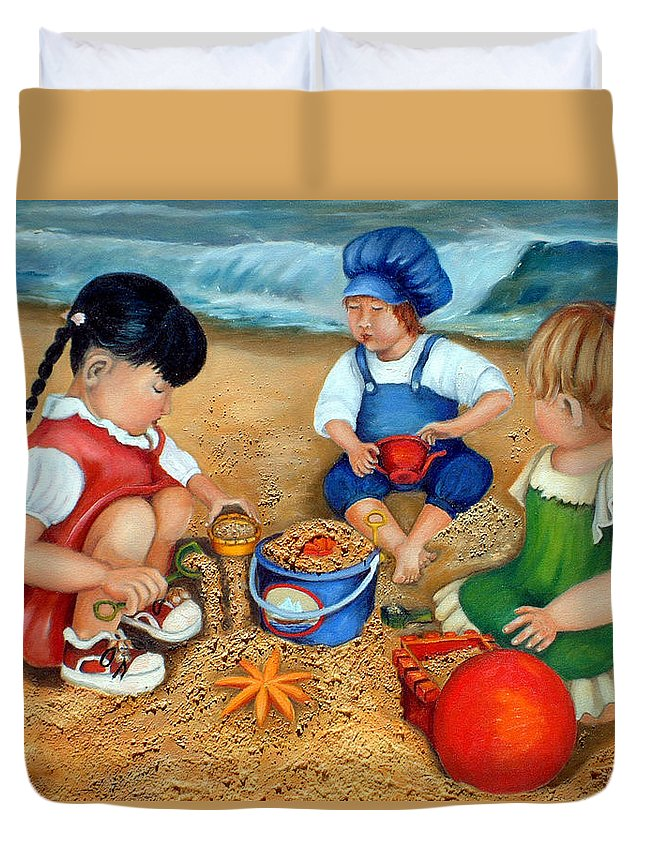 Beach Duvet Cover featuring the painting Playtime At The Beach by Portraits By NC