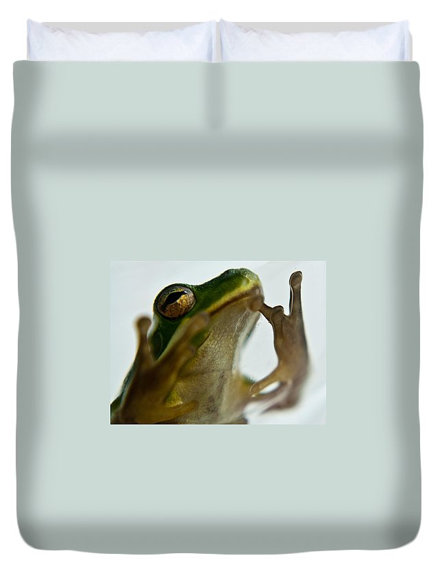 Frog Duvet Cover featuring the photograph Please Not In A Frogs Eye by Douglas Barnett