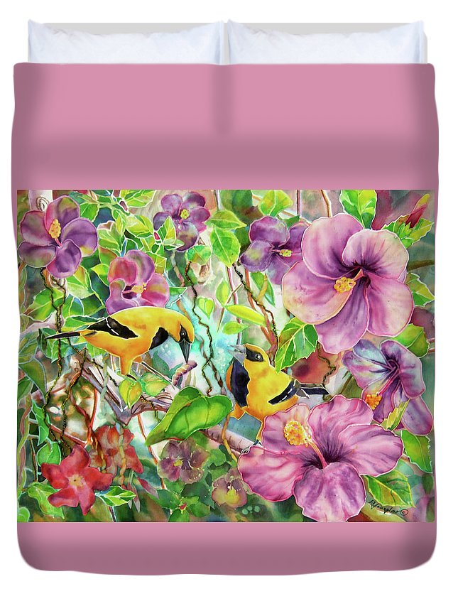 Bird Duvet Cover featuring the painting Please Share by Deborah Younglao