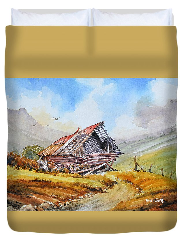 Barn Duvet Cover featuring the painting Pleasent Valley Barn by Brian Serff