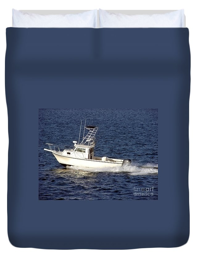Boat Duvet Cover featuring the photograph Pleasure Fishing Boat by Olivier Le Queinec