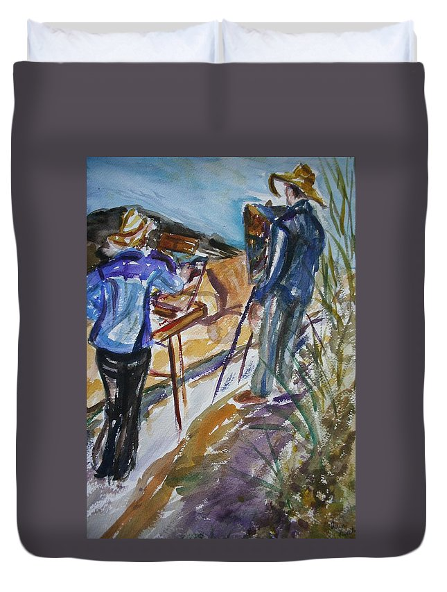 Impressionist Duvet Cover featuring the painting Plein Air Painters - Original Watercolor by Quin Sweetman