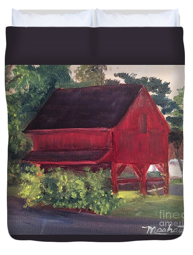 Medford Duvet Cover featuring the painting Plein Aire 7-12-16 by Sheila Mashaw
