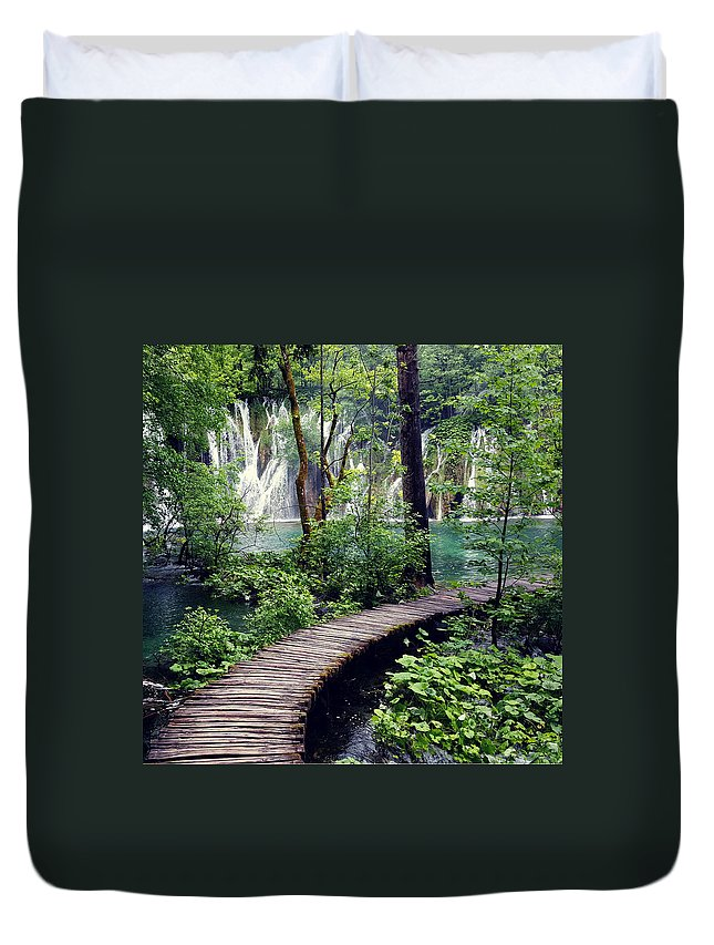 Plitvice Duvet Cover featuring the photograph Plitvice Lakes by KC Woods