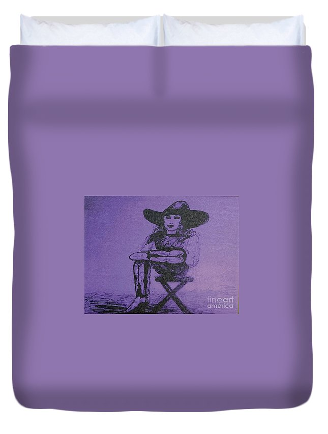 Cowgirl Duvet Cover featuring the drawing Plum Cowgirl by Susan Gahr