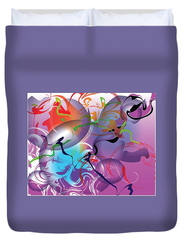Abstract Duvet Cover featuring the painting Plum Dance by Deborah Rosier