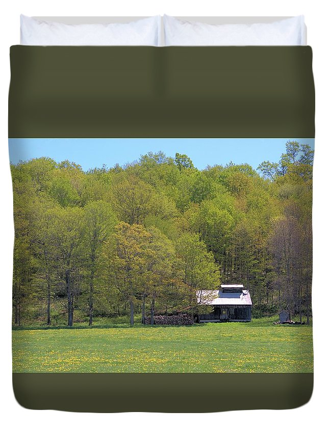 Sugar Shack Duvet Cover featuring the photograph Plum Hollow Sugar Shack In Spring by Valerie Kirkwood