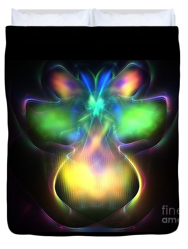 Apophysis Duvet Cover featuring the digital art Pluto Firefly by Kim Sy Ok